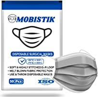 Mobistik 3 Layer Protective Face Mask with Nose Clip with Nonwoven Fabric with BFE 95; ISO Certified 3 ply disposable...