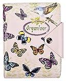 Arpan A5 Executive Personal Organizer, liniert, Notizbuch, gepolsterter Ledereinband mit Druckknopfverschluss, 100 Blatt, 80 g, cremefarbenes Papier Ringbuch (Vintage Butterfly)