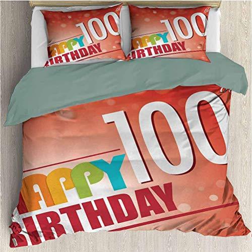 100. Geburtstag Modernes Bettbezug-Set Roter zinnoberroter abstrakter Hintergrund mit einem Happy Party-Zitat Bild Kunstdruck Gedrucktes Bettbezug-Set mit 2 Kissenbezügen Multicolor California King Si
