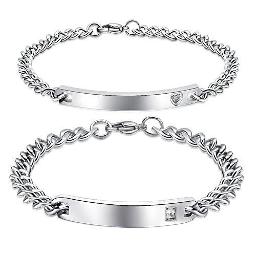 Linni Sein und Ihr Edelstahl personalisierte Armband Custom Gravur Männer und Frauen …