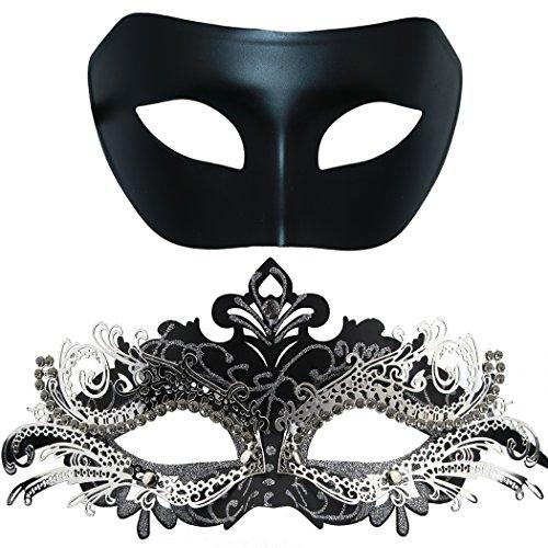 Thmyo Máscara de Metal de la Mascarada de Pareja, Máscara de Fiesta de Disfraces de Halloween de Rhinestone Brillante Veneciano (Paquete de 2) (Negro y Negro-Plata)