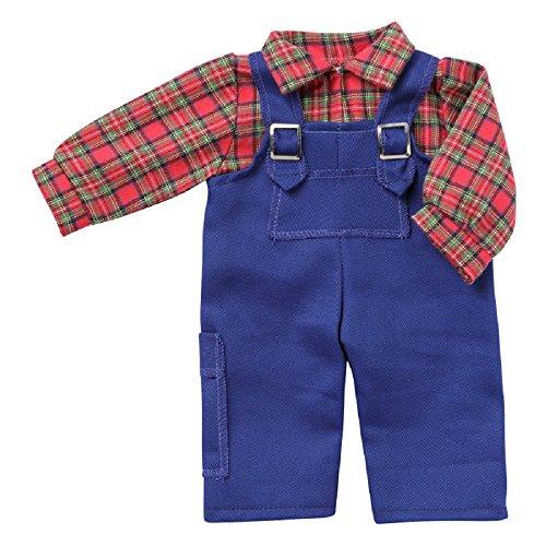 Unbekannt Puppen Kleidung Latzhose Blaumann Karohemd 2-teilig für 36 - 40 cm Puppen Schwenk 54038