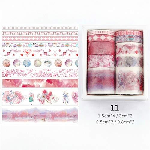Diseño especial 26 diseños 10pcs / caja linda dibujos animados animales washi cintas scrapbooking diy decó creativo japonés kawaii enmascarado cintas pour l'artisanat décoratif, (Color : K)