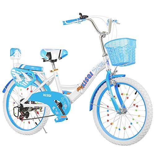 ALUNVA 20 22 Pulgadas Bicicleta Plegable,Bicicleta para Niños,Bicicleta Compacta,Bicicleta Portátil,Mini Bicicleta Plegable Ligera,Azul Blanco-Azul 1 22 Pulgadas
