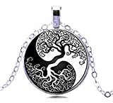 Tree of Life Necklace Pendant Jewelry for Women Yin Yang Silver Mom Necklace