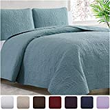 Mellanni Bedspread Coverlet Set Spa-Blue - Comforter Bedding Cover - Oversized 3-Piece Quilt Set (Full/Queen, Spa Blue)