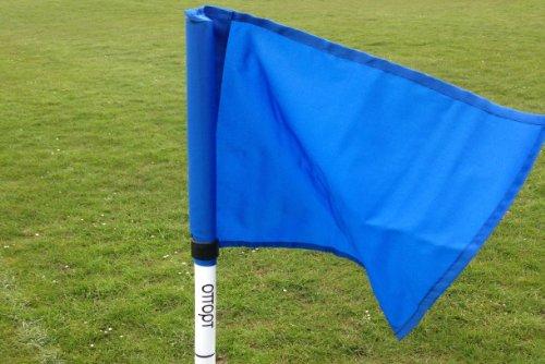Juego de cuatro banderines de esquina plegables, con bolsa para transportar, azul real