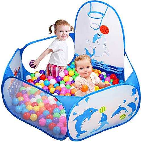 Likorlove Tente de Jeu, Piscine pour Enfants 120cm Playpen Bébé Baby Ball Pit Pool Pop Up Cubby House Pliable balles Maison de Jeu en Plein Toddler Enfants Jouets Cadeaux avec Sac de Rangement (Bleu)