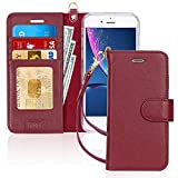 FYY Case for iPhone 8 Plus/iPhone 7 Plus,[Kickstand Feature] Luxury Genuine Leather Wallet Case Flip Folio Cover with[Card Slots][Wrist Strap] for Apple iPhone 8 Plus 2017/7 Plus 2016 (5.5') WineRed