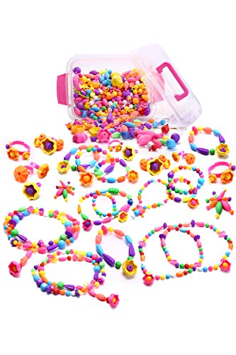 TREXIO Toy Beads Accessories Kit, Craft Materials, Handmade, Educational Toys, Creative Toys, Girls, Kids Birthday Gift, Includes Japanese Instruction Manual And Storage Case (English Language Not Guaranteed), Anniversary/Christmas Gift, Handmade Necklace/Bracelet/Ring, Fingertips, Rings, Colorful Parts, Set