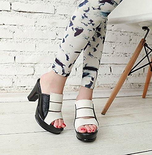 SCLOTHS été Tongs Femme Chaussures Similicuir haut talon avec épais imperméable vêteHommests pour