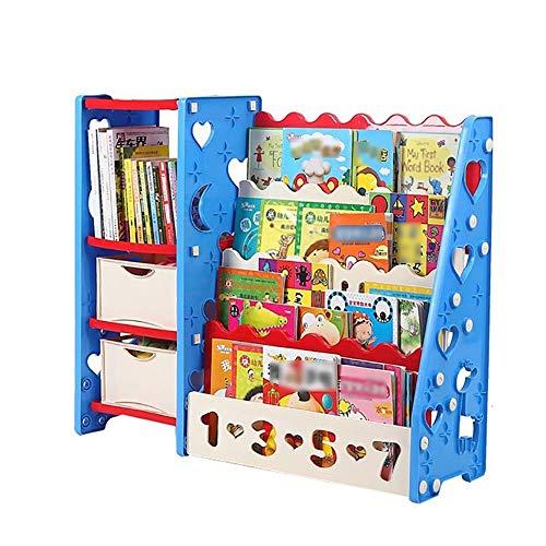 Kinderbücherregal Mit Schubladen Baby Einfachen Kunststoff-Kombination Bücherregal Kindergarten Buch Rack Lagerregal (Farbe : Blau)
