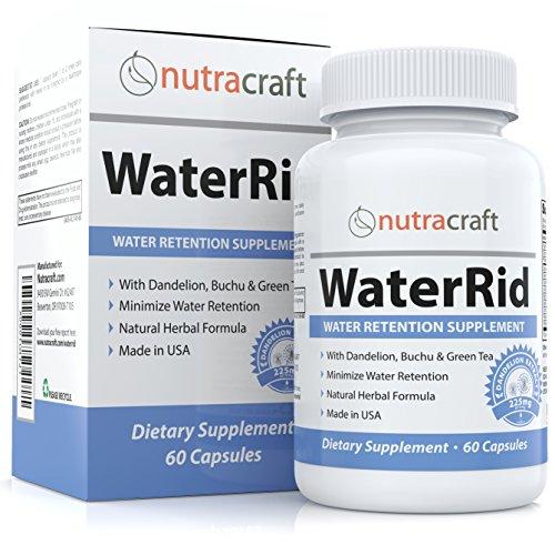WaterRid #1 Natural Diuretic Water Pill   Dandelion, Green Tea, Potassium, Apple Cider Vinegar (ACV), Buchu, Cornsilk, Cranberry & More   Water Retention & Bloating Relief   60 Capsules (Non-GMO)