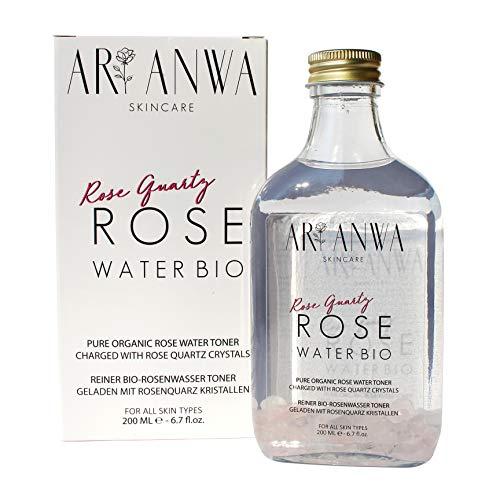 Auténtico spray de agua de rosas con cristales de cuarzo rosa – ARI ANWA Skincare – 100% puro & natural en botella de cristal – contra impurezas de piel, contra grúas, poros grandes y ojeras