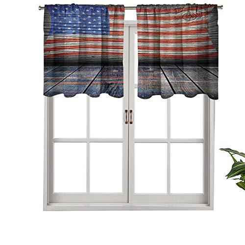 Hiiiman Cenefa de cortina corta con bolsillo para barra de cortina, 4 de julio, día de la independencia, madera rústica, juego de 1, 42 x 18 pulgadas para baño y cocina