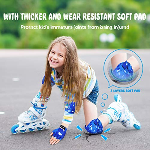 MOVTOTOP Knee Pads for Kids, Soft Kids Knee and Elbow Pads with Gloves Set - Reinforced Stitching Around, T   oddler Sports Protective Gear with Mesh Bag for Kids Skateboard Rollerblading Bike Scooter