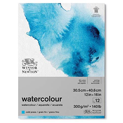 Winsor & Newton 6667004 Aquarellpapier, Mischung von 25% Baumwolle und Zellulosefasern hergestellt, helles natürliches weiße, 30,5 x 40,6cm-12 Blatt im Block, 300g/m²