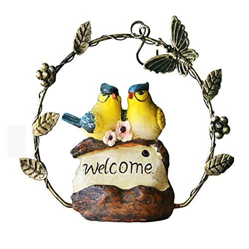 sknonr Simulación se llamará Bird Adornos de decoración de Hierro Forjado Colgante jardinería jardín Patio jardín de Infancia Real de Aves y Propiedades Escultura Decoración