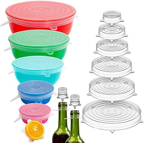Holikme 16 Pack Silicone Stretch Lids Reusable Durable Fit Different sizes Silicone Covers for product image