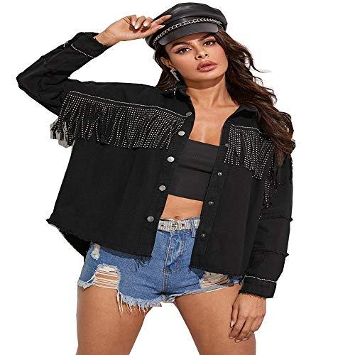 N\P Giacca di Jeans Donna Primavera Autunno con Nappe Jeans Neri Giacche Scozzesi Cappotto Casual Manica Lunga Streetwear Spring Jacket
