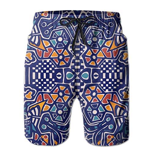 Patrón de Mosaico Arabesco Bañador para Hombre Surf Tabla de Secado Rápido Pantalones Cortos de Playa Cordón Cintura Elástica con Bolsillos XL
