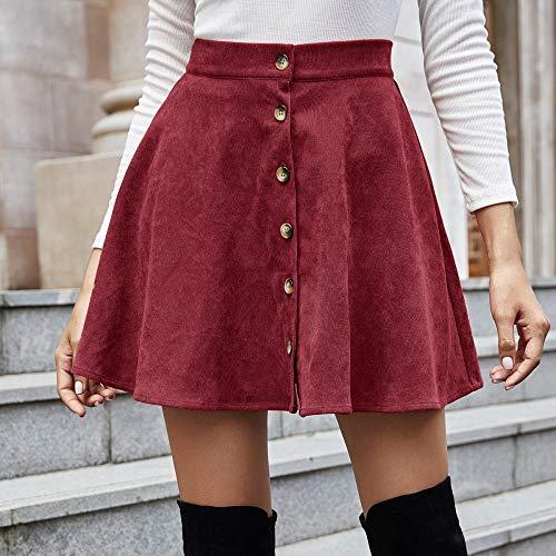 VBHJK Falda para Mujer,Vino Rojo Pana Botón De Cintura Alta Falda Corta Plisada Moda Sexy Primavera Otoño Versátil Falda Retro Elástica para Mujeres Fiesta De Niñas Oficina De Moda Informal,M
