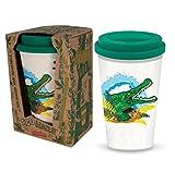 Ecoware Taza de Viaje Reutilizable - Cocodrilo de Deluxebase. Taza de café ecológica con estampado animal de 400 ml. Taza para bebidas calientes como té y café hecha de bambú y materiales biológicos