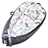 EIH Baby Lounger, Baby Nest Portable Baby Bassinet Ultra Soft Breathable Newborn Lounger with Pillow Adjustable for Crib & Bassinet Mattress Perfect for Co-Sleeping Traveling and Shower Gift (Animal)