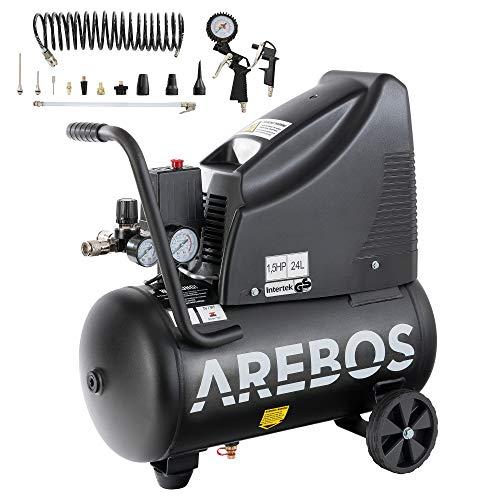 Arebos Druckluftkompressor | Kompressor | ölfrei | 1100W | 24 L | 8 bar | Ansaugleistung 165 L/min, | Druckminderer | inkl. 13-teiligem Druckluft-Werkzeug-Set + 5 m Spiralschlauch | schwarz |