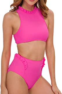 Dixperfect Women's Fuller Bust Underwired Crop Bikini Sets High Waisted Swimwear Bathing Suit with Frill Trims