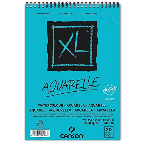 Oxford Bloc Dibujo A5 Canson XL Aquarelle 20hj 300gr, Multicolor