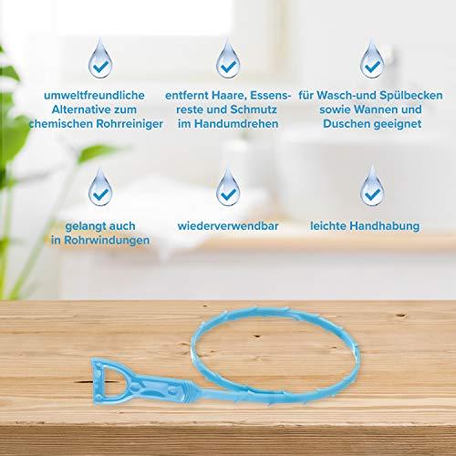 Reinigungswerkzeug Abflussschlange blau – chemiefreie Rohrreinigung bei Verstopfungen für Waschbecken Bad und Küche by kör4u (10)