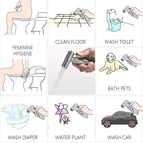 Afloia - Vaporisateur de Toilette Douchette à Main Bidet en Acier Inoxydable - Pour salle de bain - Pulvérisateur de couche - Finition nickel - Fixation murale ou WC