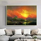 Canvas Wall Art For Living Room Decor Ivan Aivazovsky《The Ninth Wave》Wall Art For Bedroom Decor Canvas paintings Pictures For Bedroom Wall Decorations 40x60cm 16'x24'No Framed