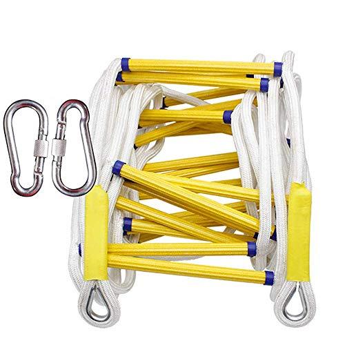ZHANGDAN Emergency Fire Escape Rope Ladder - Tragbare, kompakte, schwer entflammbare Notbrandsicherheits-Evakuierungsleiter mit Haken - wiederverwendbar, 2-3-stöckige Rettungsleiter,20m/65ft
