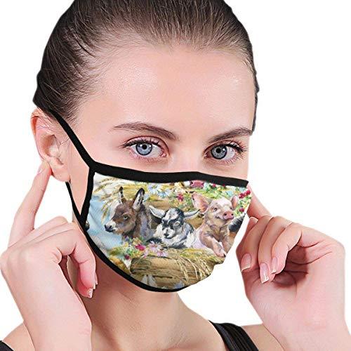 KINGAM Cubierta de nariz unisex antipolvo, lavable y reutilizable para hombres y mujeres, personalizable, para granjas, potro de animales de granja, pollo, pato, oveja, cabra, becerro, burro, gatito