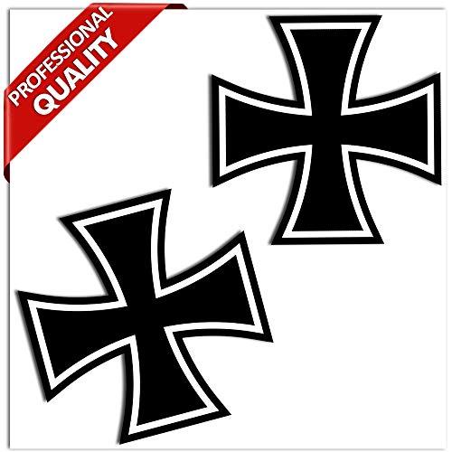 SkinoEu® 2 STÜCK Vinyl Aufkleber Stickers Iron Cross AUTOAUFKLEBER EISERNES Kreuz Auto Motorrad Fenster TÜR Fahrrad Tuning B 54