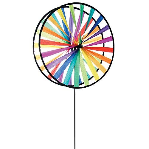 HQ Windspiration 100869 Magic Wheel Giant Duett Rainbow, UV-beständiges und wetterfestes Windspiel, inkl. Standstab und Bodenanker, Giant Duett Rainbow, Höhe: 138 cm, Tiefe: 28 cm, Ø: 63 cm