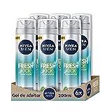 NIVEA MEN Fresh Kick Gel de Afeitar Refrescante en pack de 6 (6 x 200 ml), gel facial para un afeitado apurado y cómodo, gel de afeitado con tecnología Ultra Glide