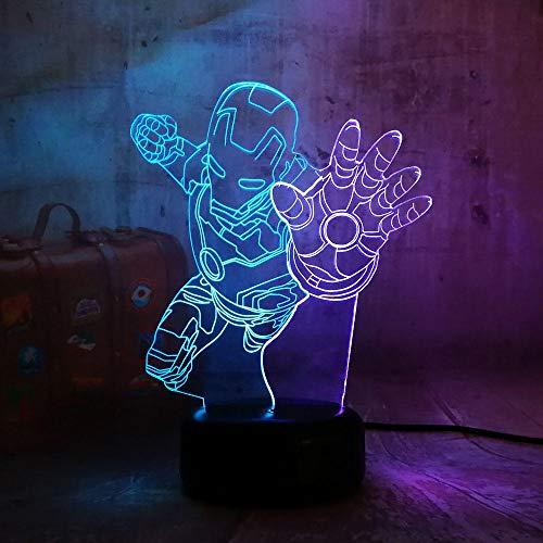 The Avengers Marvel Comics Fliege Iron Man 3D LED Nachtlicht Schreibtischlampe Multicolor RGB Wohnkultur Weihnachten Kinder Geschenk Cartoon Spielzeug Mischfarbe Touch One 7 Farbe Usb Wiederaufladbar