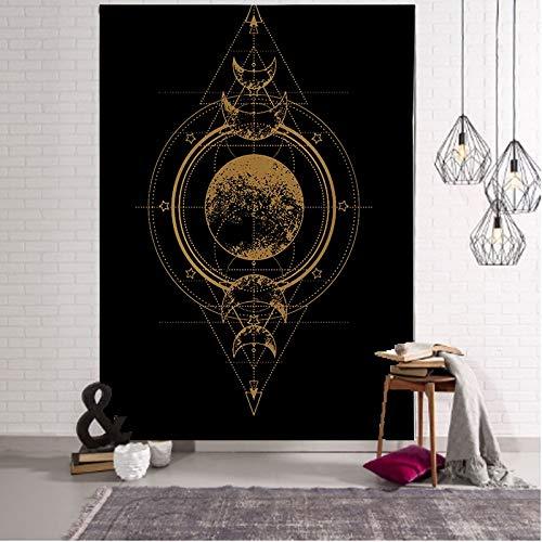 PPOU Tapiz de Luna Tapiz de Encaje Mandala Indio Colgante de Pared Boho Hippie Fondo psicodélico Manta de Tela Tela Colgante A8 180x200cm