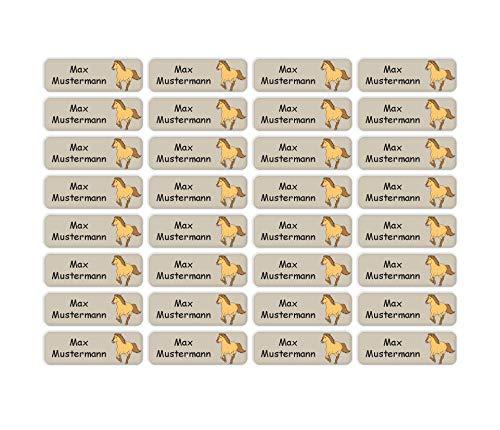 Sunnywall® Namensaufkleber Namen Sticker Aufkleber Sticker 4,8x1,6cm | 60 Stück für Kinder Schule und Kindergarten 38 Hintergründe zur Auswahl (05 Pferd)