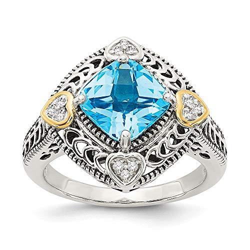 Plata de ley con 14ct diamante en bruto y Azul topacio - anillo de tamaño P 1/2 - JewelryWeb