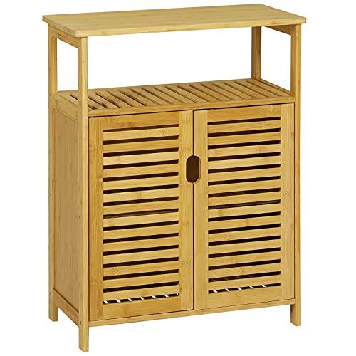 VIAGDO Kommode Bambus Badschrank, Küchenschrank mit Regalablage und Lamellentüren, Badezimmerschrank, Sideboard, Beistellschrank, Wohnzimmer, Küche, Esszimmer, Büro, Badezimmer Schrank, 60x30x80cm