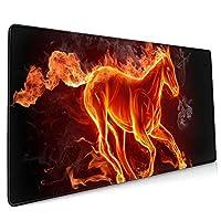 火の馬 マウスパッド デスクマット 400x900mm ゲーミング用 オフィス用 防水 滑り止め 大型 おしゃれ