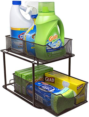 Sorbus 2 Tier Organizer Baskets with Mesh Sliding Drawers —Ideal Cabinet, Countertop, Pantry,...