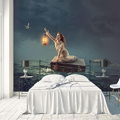 Fototapete Mädchen, das auf See treibt 450x300 cm - 9 Strips Modern Vlies Wohnzimmer Schlafzimmer Flur - Wandbild Dekoration Wandposter Fotoposter Wanddeko