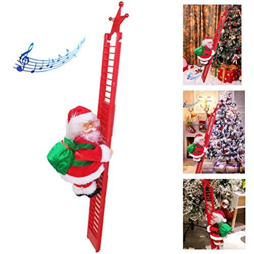 Mowtom Scala di Arrampicata elettrica, Carillon di Babbo Natale Giocattoli per Decorazioni Natalizie con Ornamenti Musicali per Decorazioni Natalizie a casa