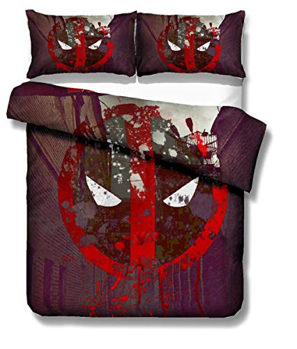 Goplnma - Biancheria da letto Deadpool Marvel Supereroi per bambini e adulti, copripiumino Deadpool con federe, stampa 3D, multicolore (135 x 200 cm), 4)