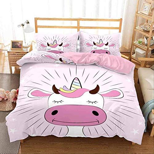 WGLG Double Bed Duvet Sets, 3D Bedding Set Home Textiles Animal Print Prairie Cow Duvet Cover Set Pillowcase 2/3Pcs Adult Kids Bedclothes